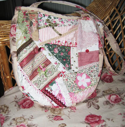 The front of my crazy quilt tote bag