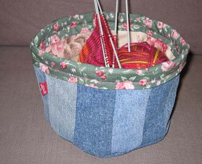 Denim basket for small projects and stuff