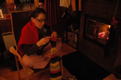 Me knitting on my very long sock