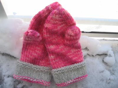 My Candy Floss Mittens on the balcony