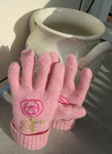 My pink wool gloves