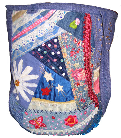 Yvonnes blue tote bag in crazy quilting