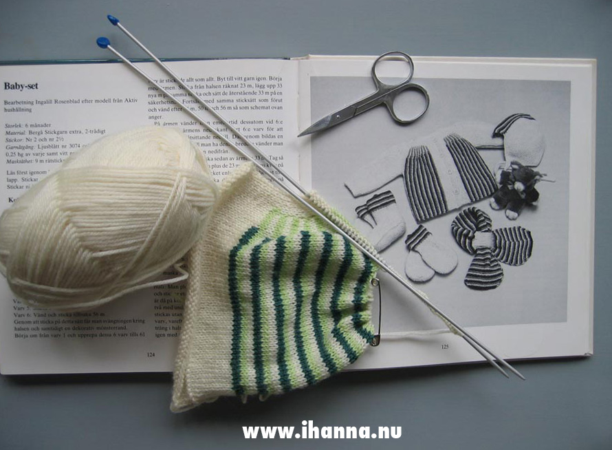 Knitting baby sweater for upcoming baby - by iHanna