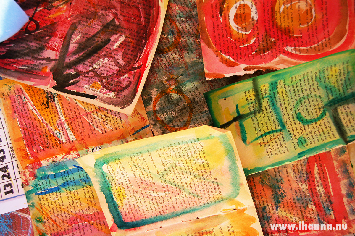 Watercolor painted background papers and collage fodder by iHanna #artjournaling