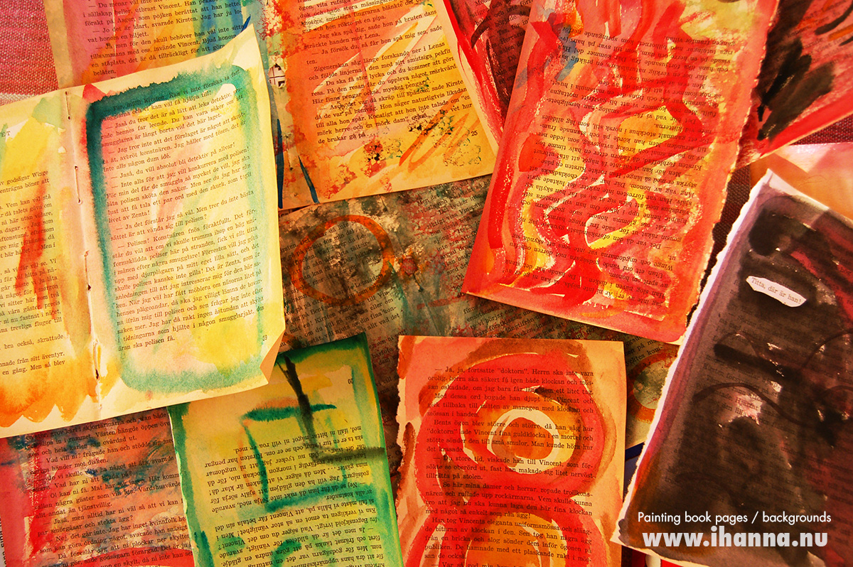 Painting on book pages, background papers in the making by iHanna #artjournal