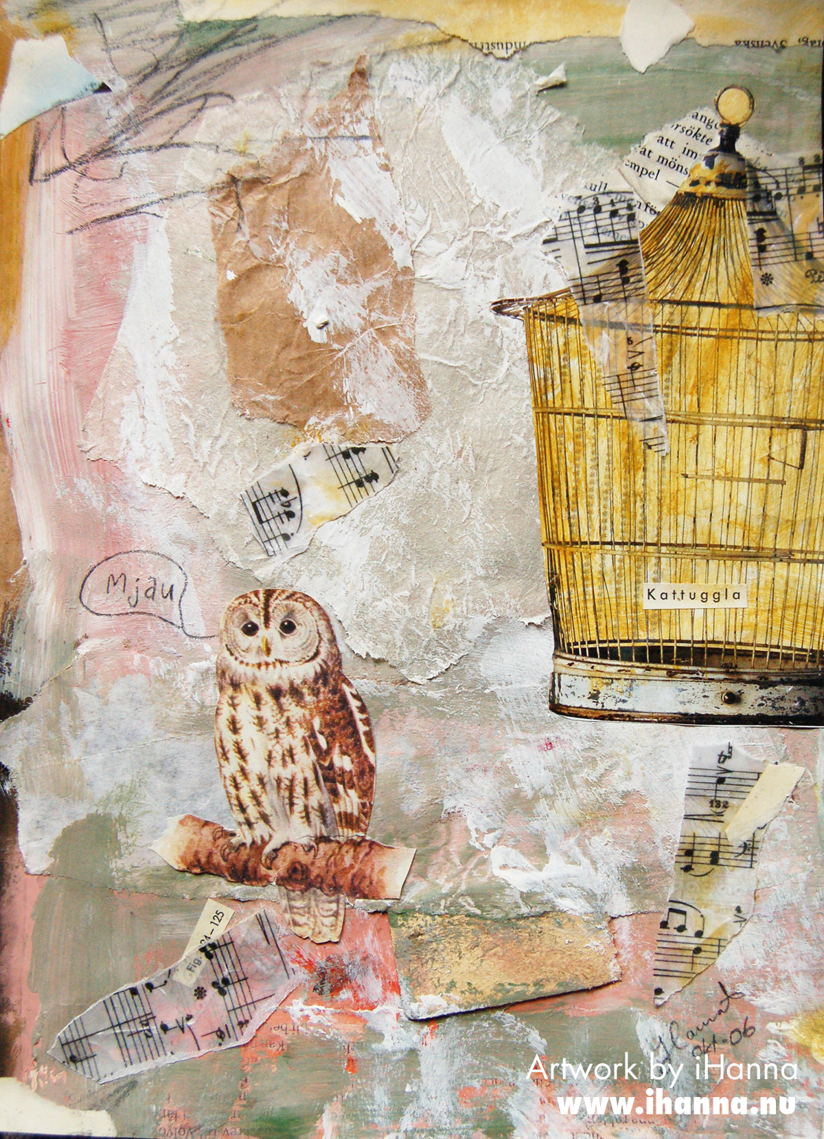 Cat Owl mixed media artwork 2006 by Hanna Andersson - iHanna of www.ihanna.nu #collage