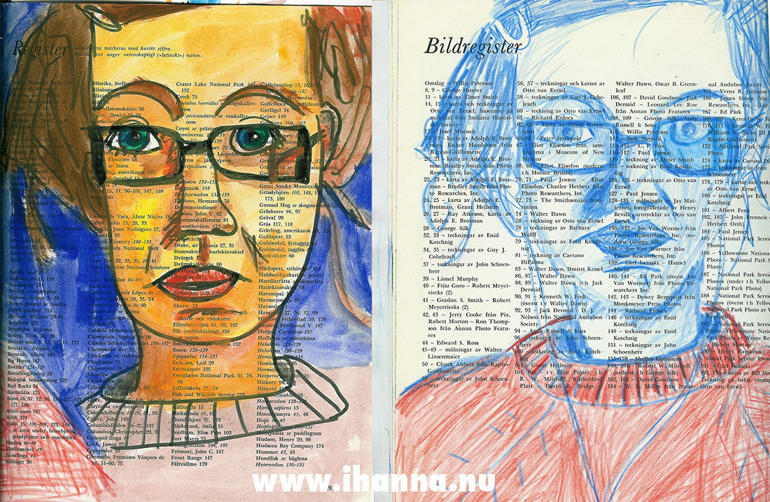 iHanna self portrait in two different ways in my Art Journal