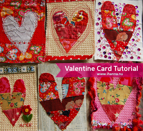 Tutorial for mixed media Valentine Postcards by iHanna of www.ihanna.nu
