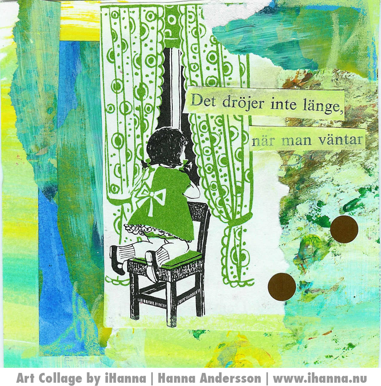 Waiting - an art card collage by Hanna Andersson, Studio iHanna