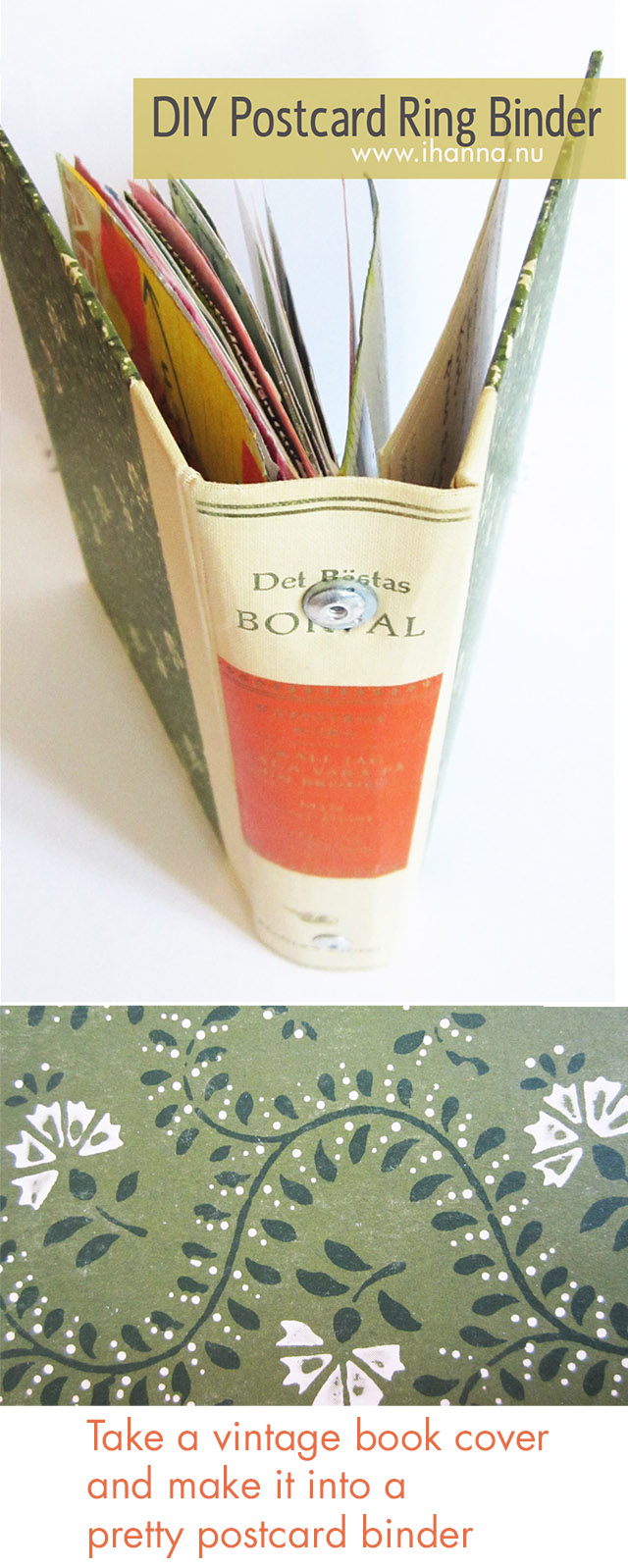 Creative Idea: Take a vintage book cover and make a pretty postcard binder - more info at www.ihanna.nu