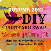 DIY POSTCARD SWAP button for autumn 2012 with rounded corners