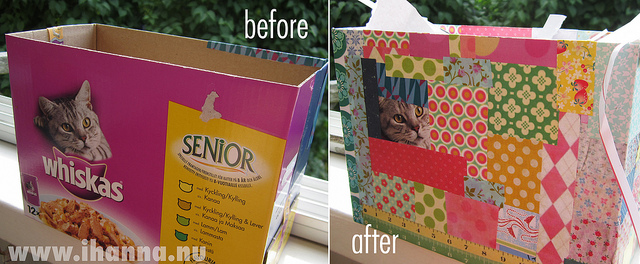 How to cover a whiskas cat food box with paper patchwork, by iHanna at www.ihanna.nu