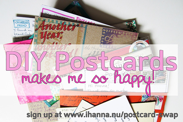 DIY and handmade Postcards are the best, and they make me happy!