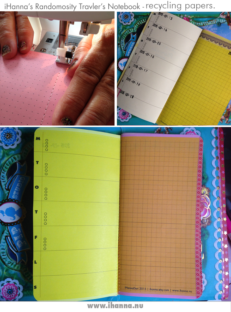 Traveler's Notebook being created by iHanna (see flip-through video of finished journal on the blog)