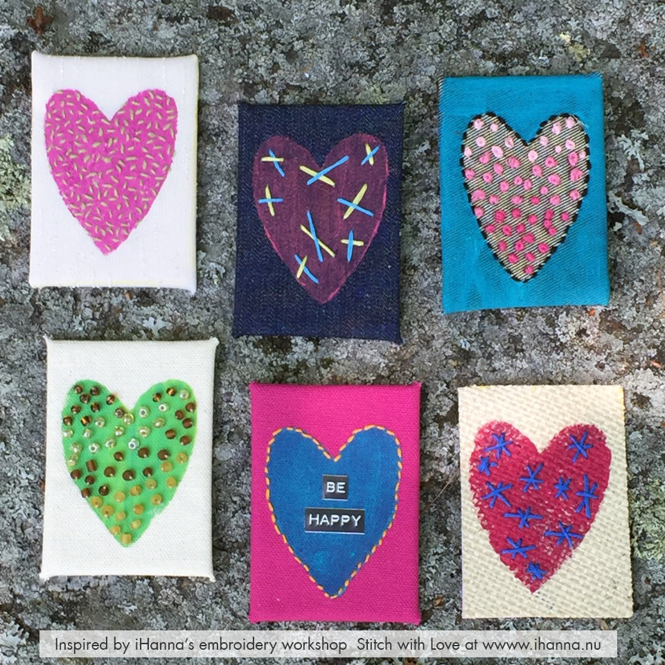 Embroidered ATC's by Wendy Rau from iHannas online workshop Stitch with Heart