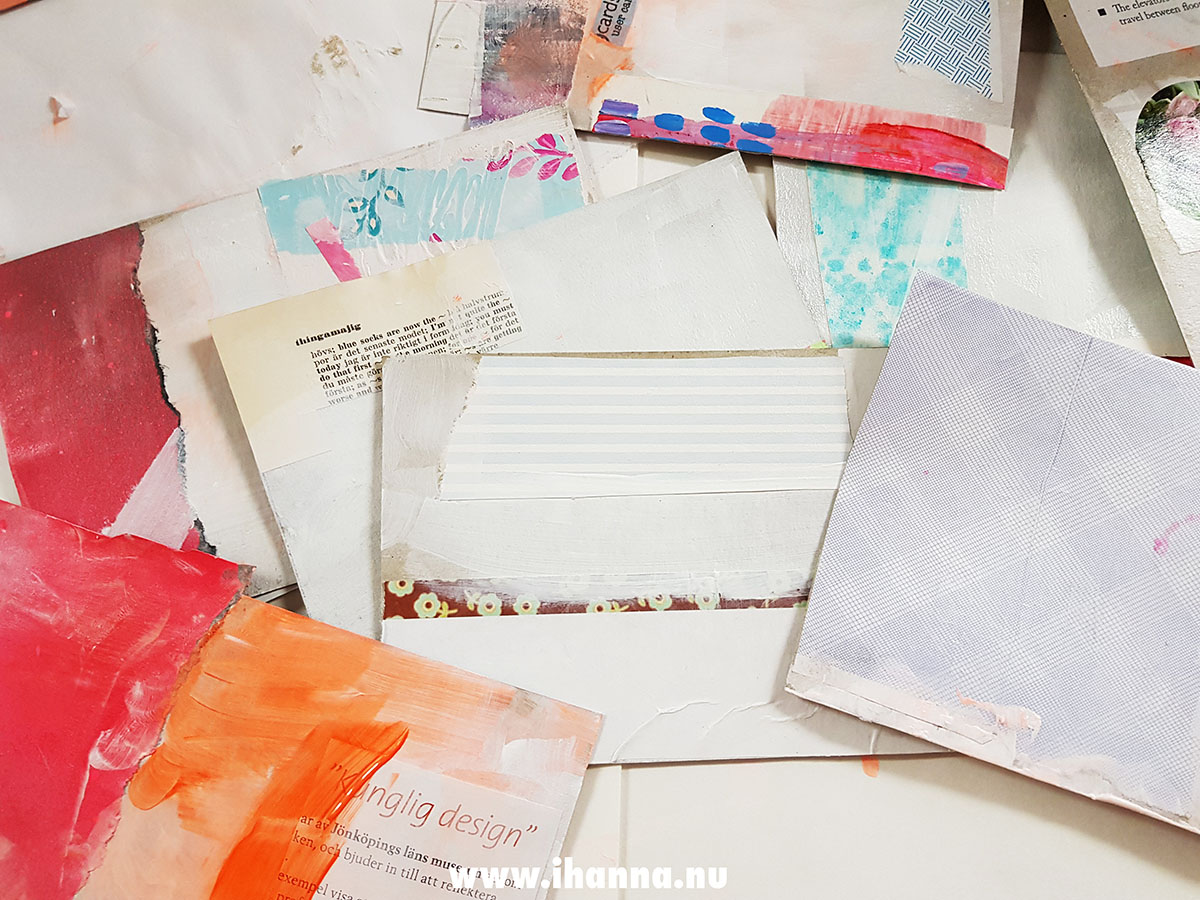 Starting to create mixed media DIY Postcards by iHanna
