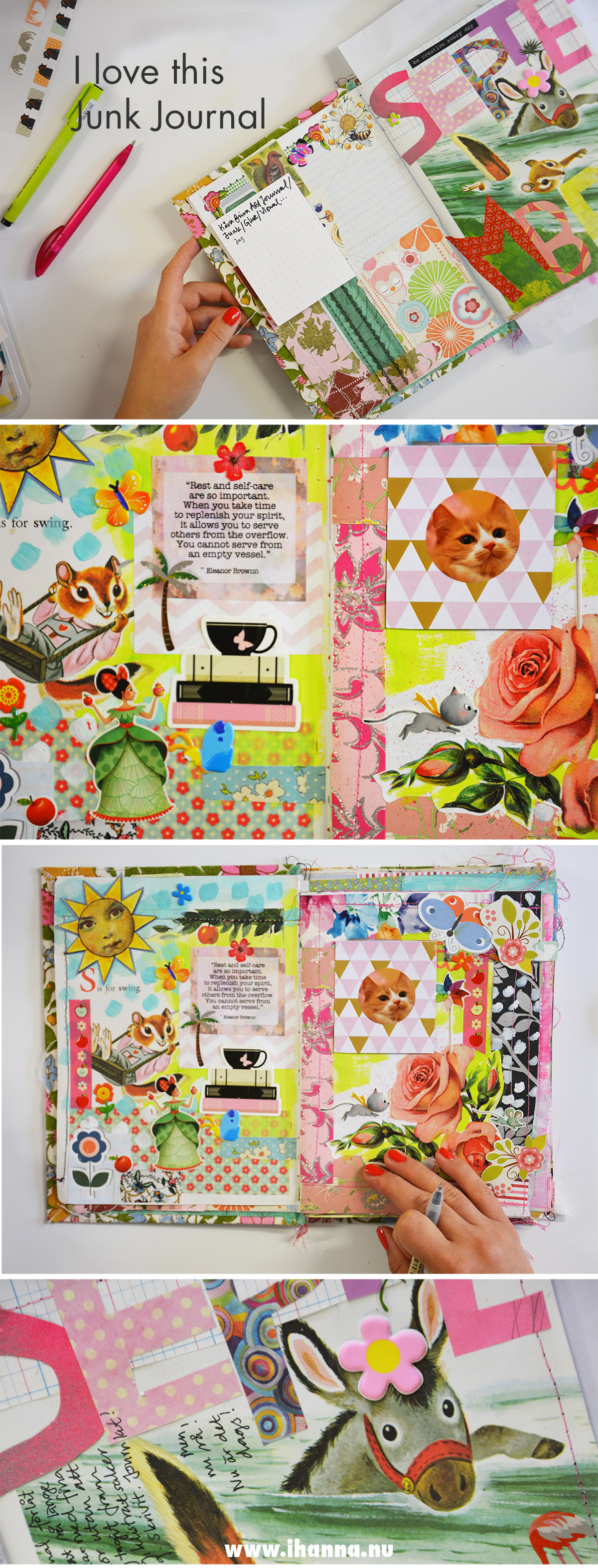 Junk journal process video and blog post by iHanna