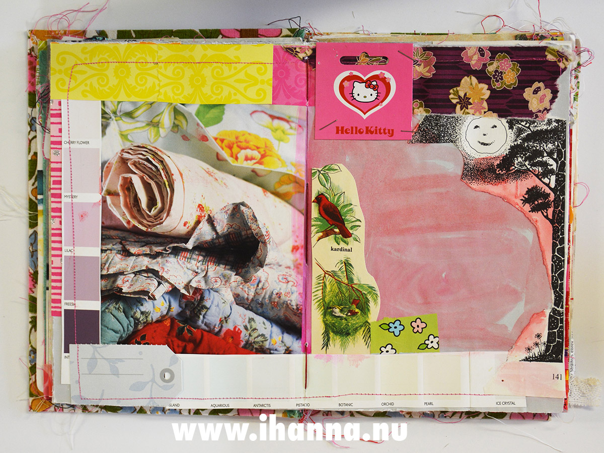 Unfinished Junk Journal spread in journal bound by iHanna