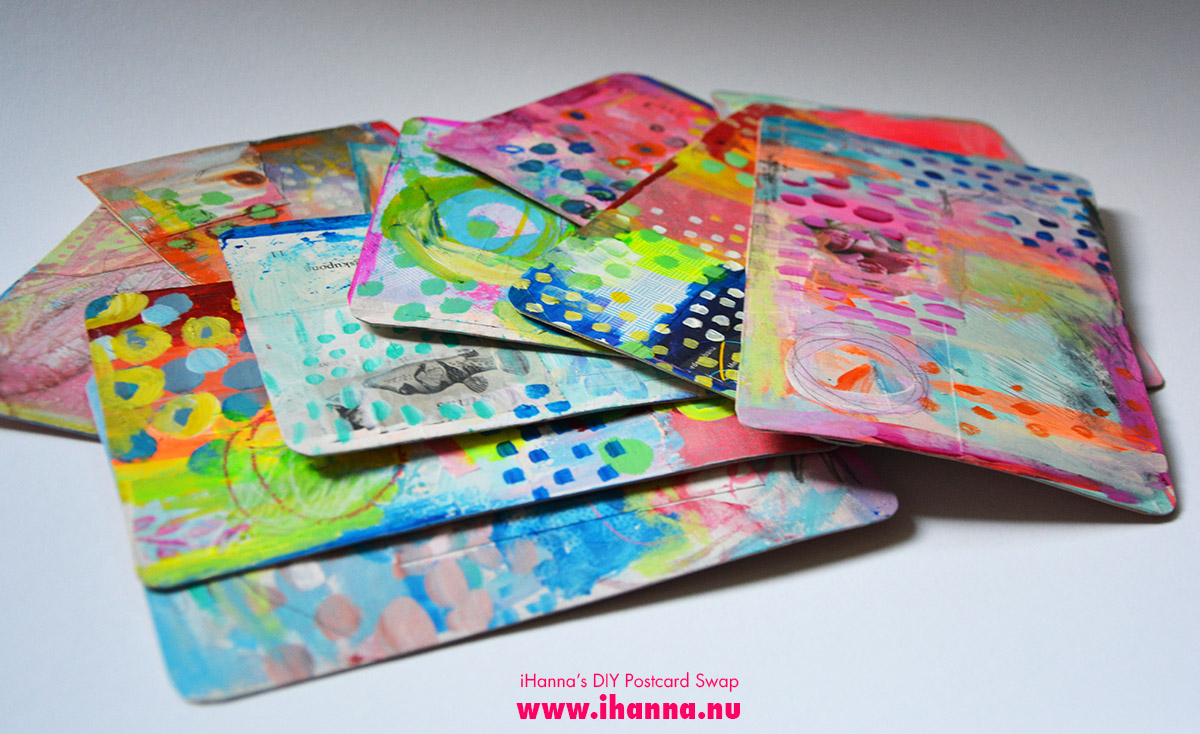 The pile of Mixed Media Painted Postcards by iHanna of www.ihanna.nu #diypostcardswap