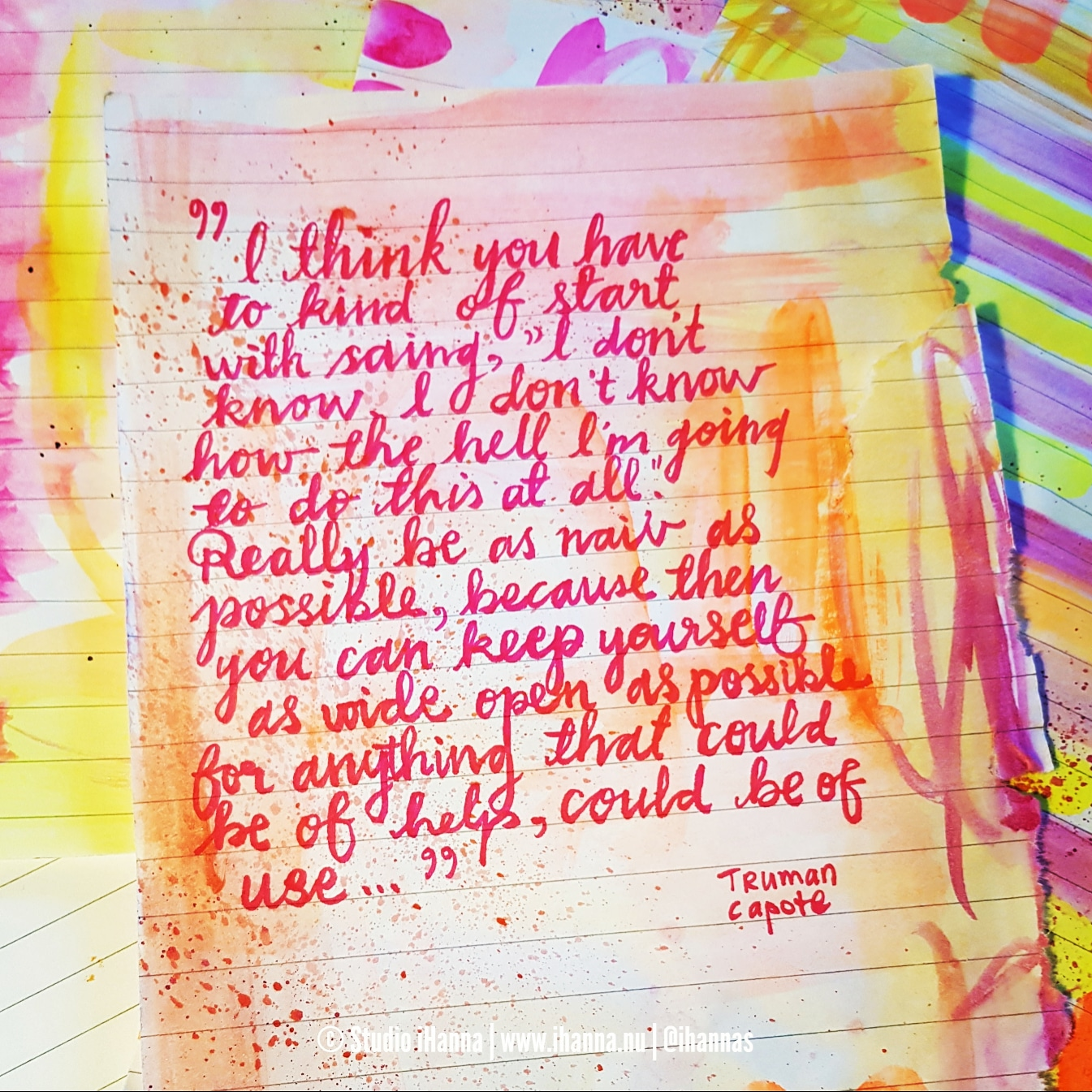 I don't know Truman Capote quote handwritten by iHanna