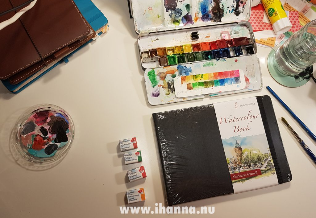Hahnemühle Watercolor Book review + video first try on iHanna's desk