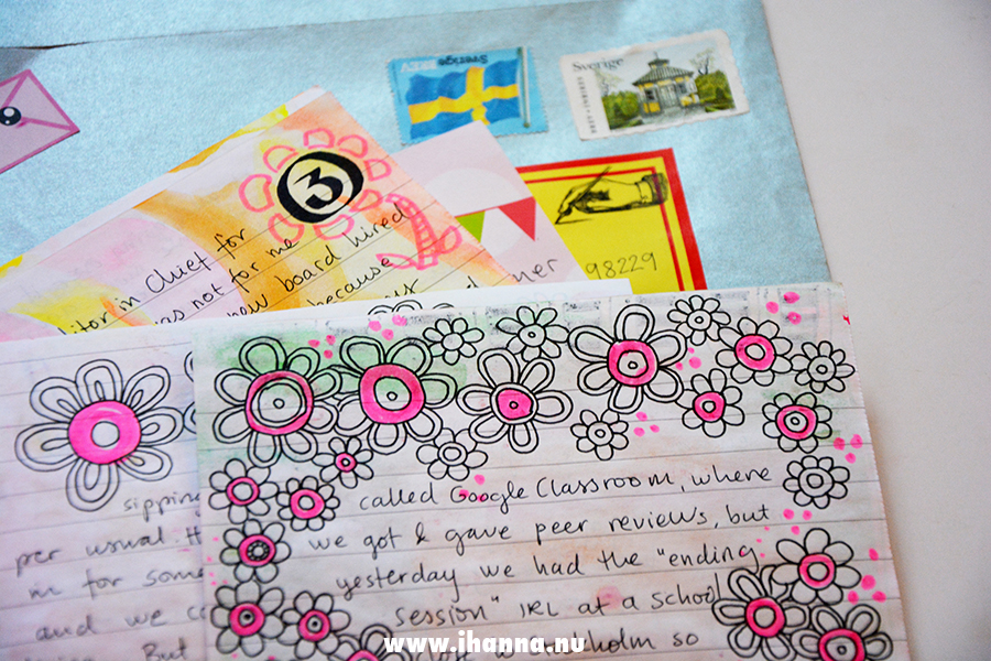Doodle border on a letter with envelope - on painted paper - all by iHanna