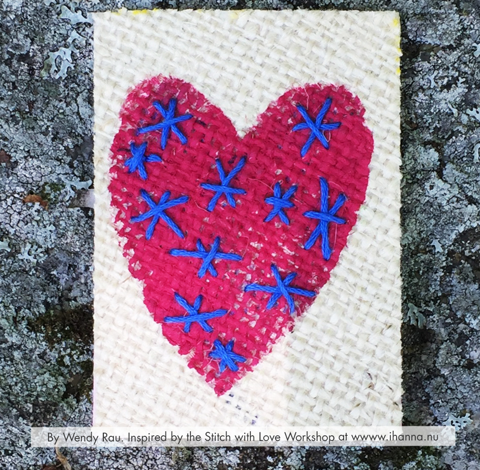 Painted Embroidered mixed media ATC by Wendy Rau inspired by iHannas embroidery workshop Stitch with Heart (online at www.ihanna.nu) #embroidery