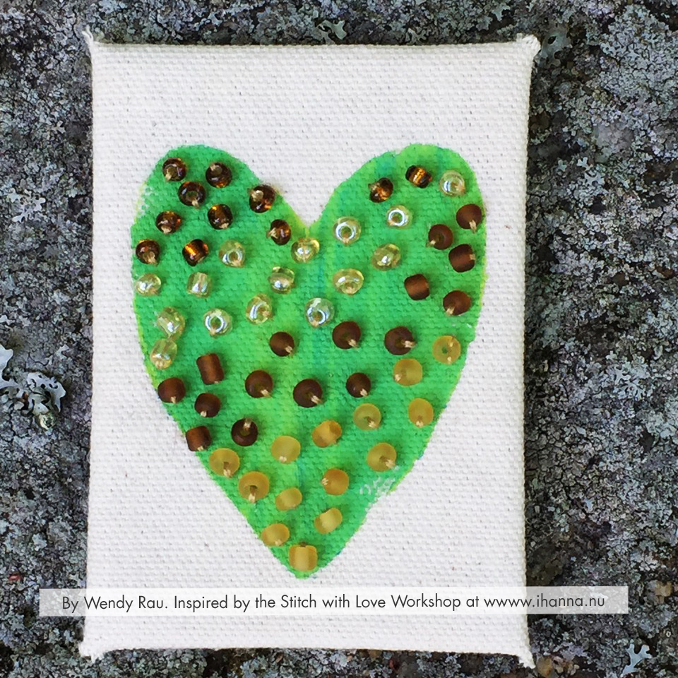 Beaded Embroidered mixed media ATC by Wendy Rau inspired by iHannas embroidery workshop Stitch with Heart (online at www.ihanna.nu) #embroidery