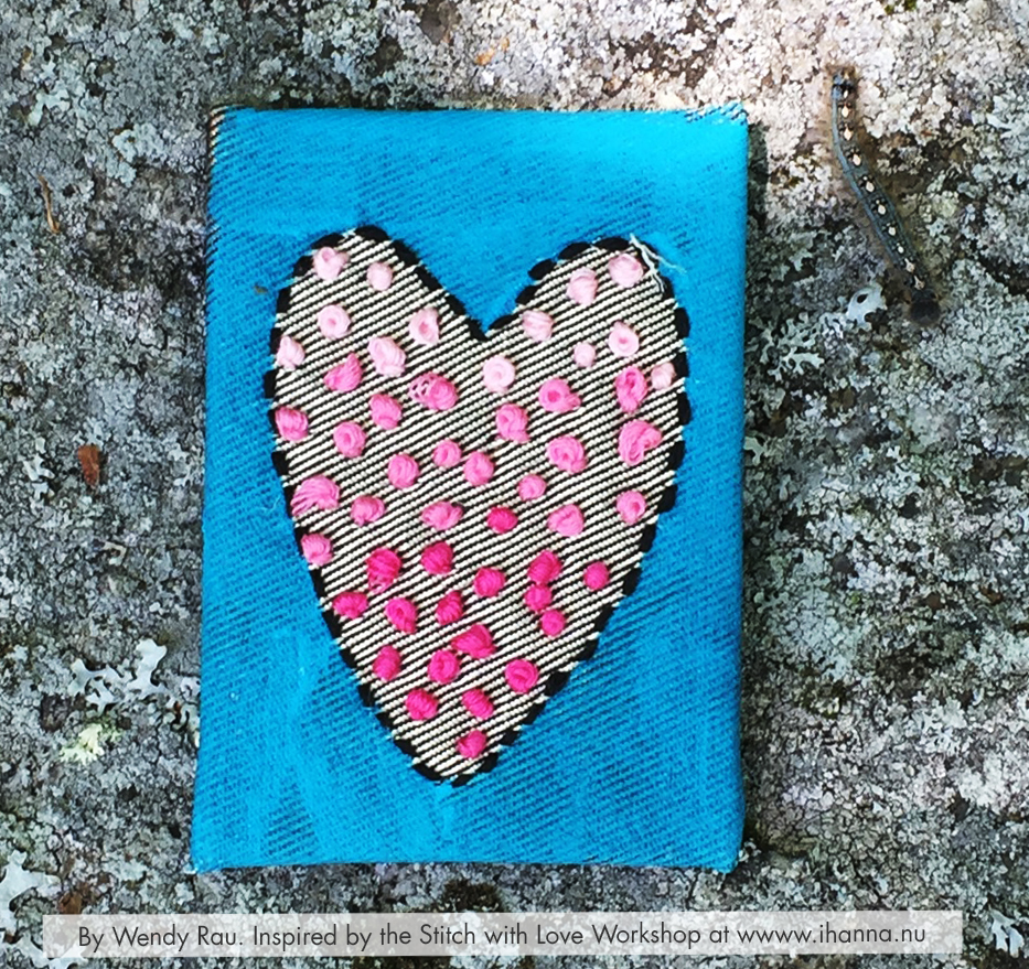 French Knots Embroidered Mixed Media ATC by Wendy Rau inspired by iHannas embroidery workshop Stitch with Heart (online at www.ihanna.nu) #embroidery