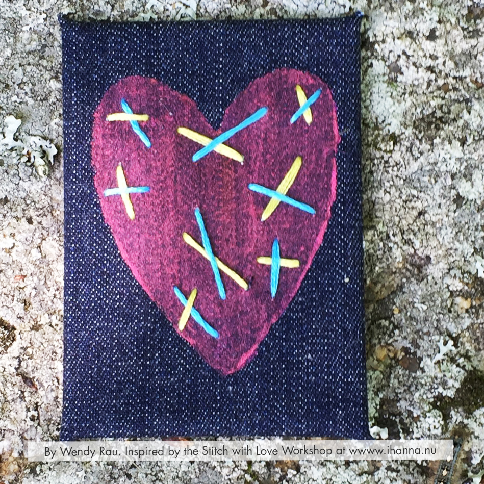 Jeans Embroidered mixed media ATC by Wendy Rau inspired by iHannas embroidery workshop Stitch with Heart (online at www.ihanna.nu) #embroidery