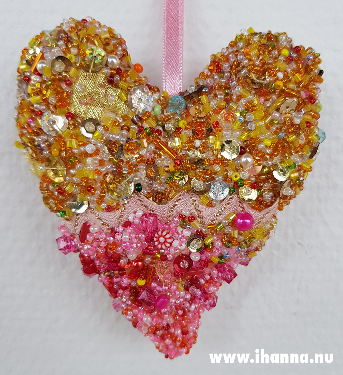 Beaded Heart Art Wall hanging by iHanna