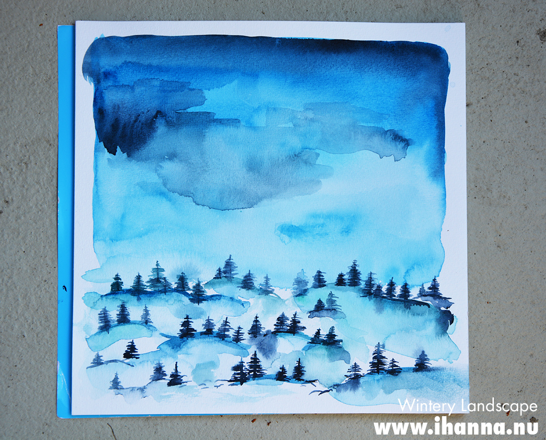 Wintery Scene in Watercolor tutorial on Skillshare - painted by iHanna