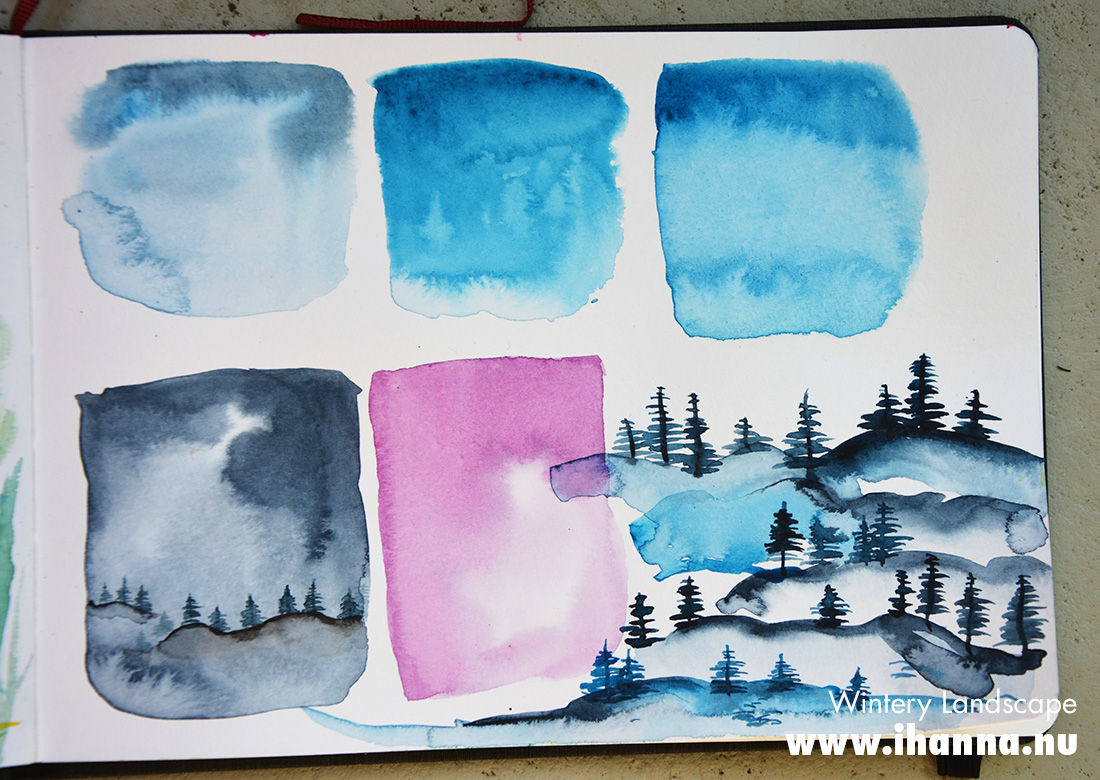 Trial patches in Watercolor tutorial on Skillshare - painted by iHanna