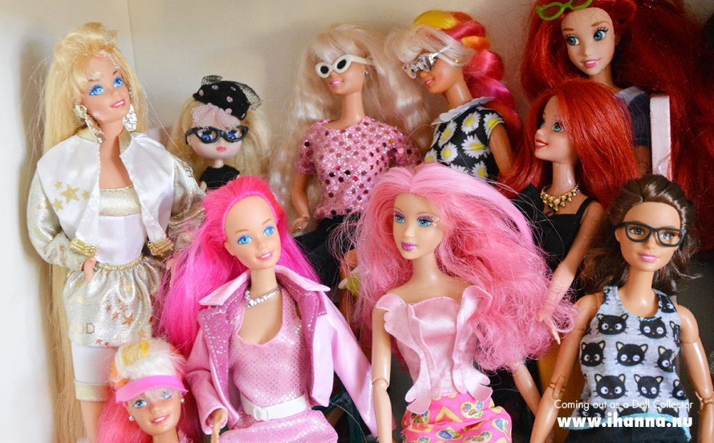 Some of iHanna's Barbie dolls in her new adult collection of dolls and toys