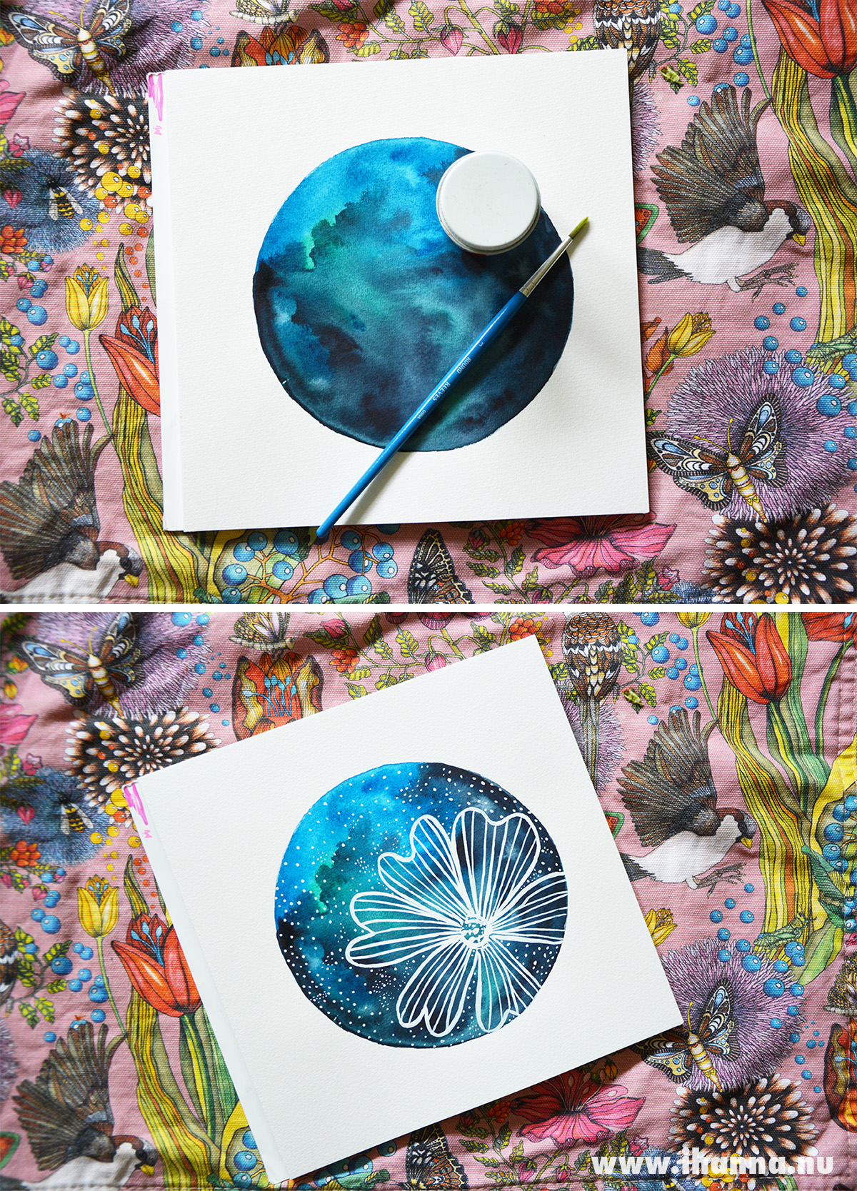 Floral Galaxy Painting by iHanna from a Skillshare class - made with Watercolor and White Ink