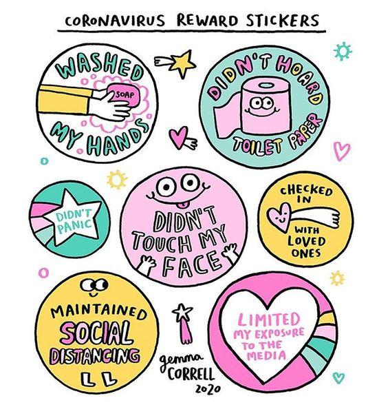 Corovanvirus reward Stickers by Gemma Correll