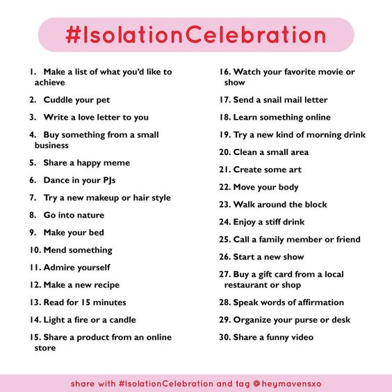 Isolations Celebration 2020 - things to do right now
