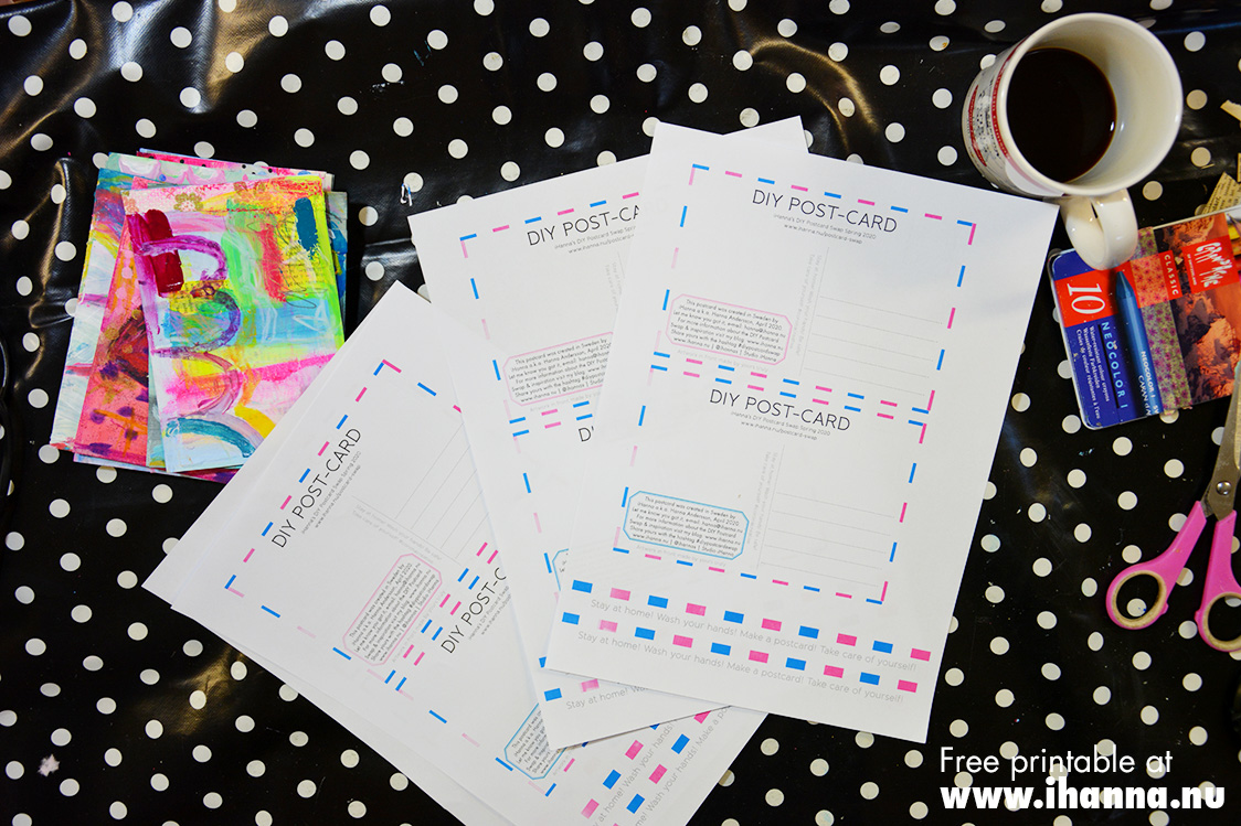 Download and print these DIY Postcard backsides by iHanna #diypostcardswap