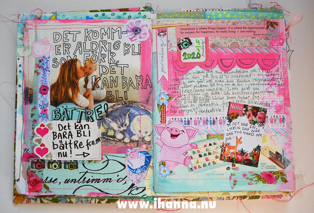 Finished art journal spread in junk journal - by iHanna