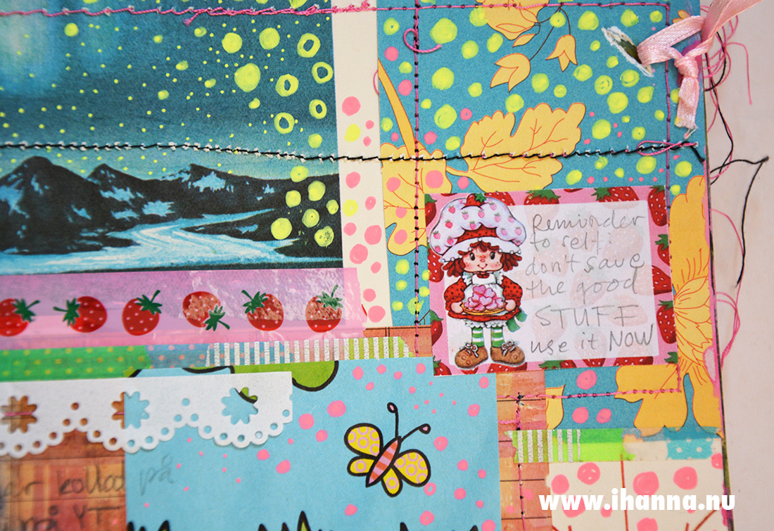 Junk journal spread detail with vintage Strawberry Shortcake doll label - by iHanna