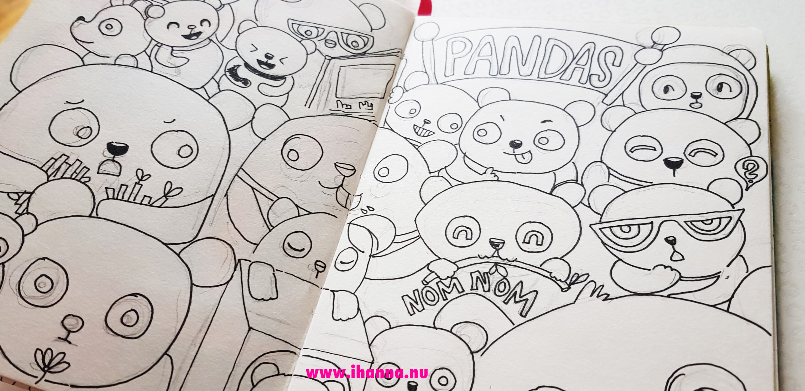 Doodle along page of pandas by iHanna