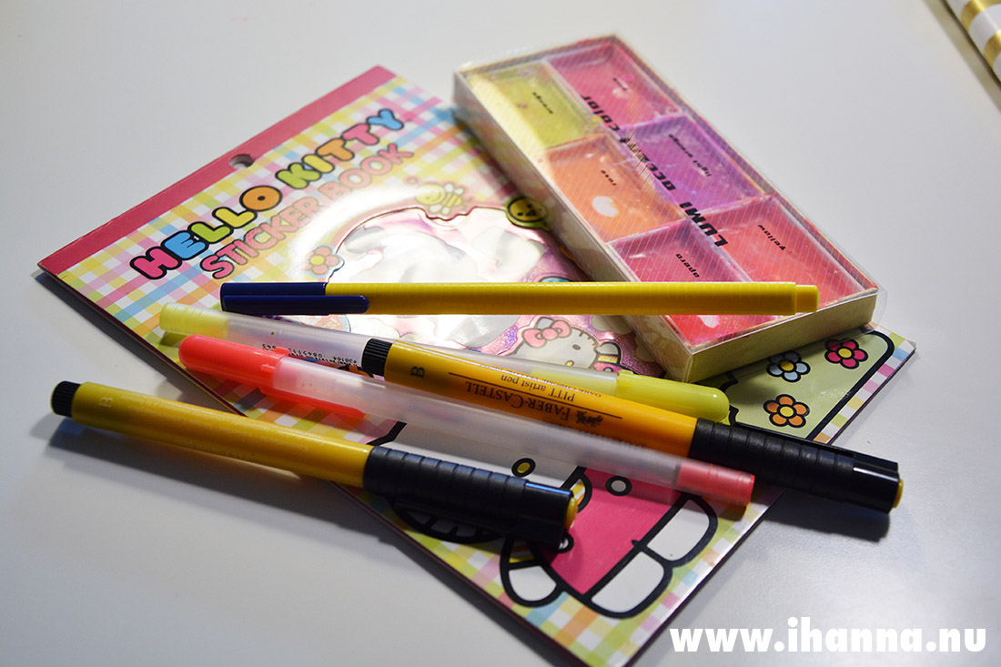 Hello Kitty Sticker book and neon watercolor