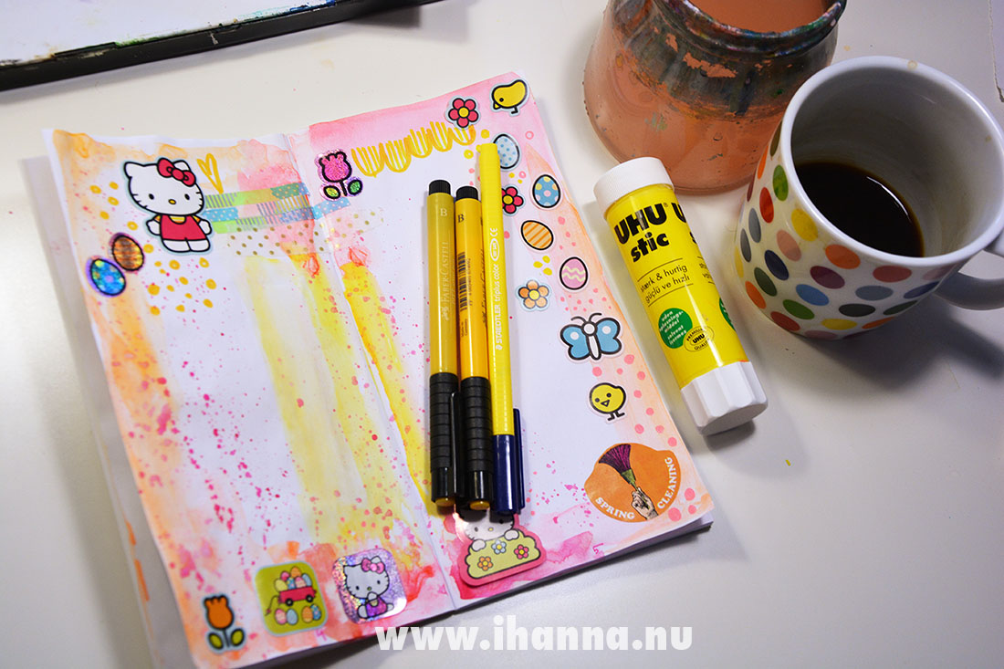 Hello Kitty Sticker book and neon watercolor in my TN journal Randomosity
