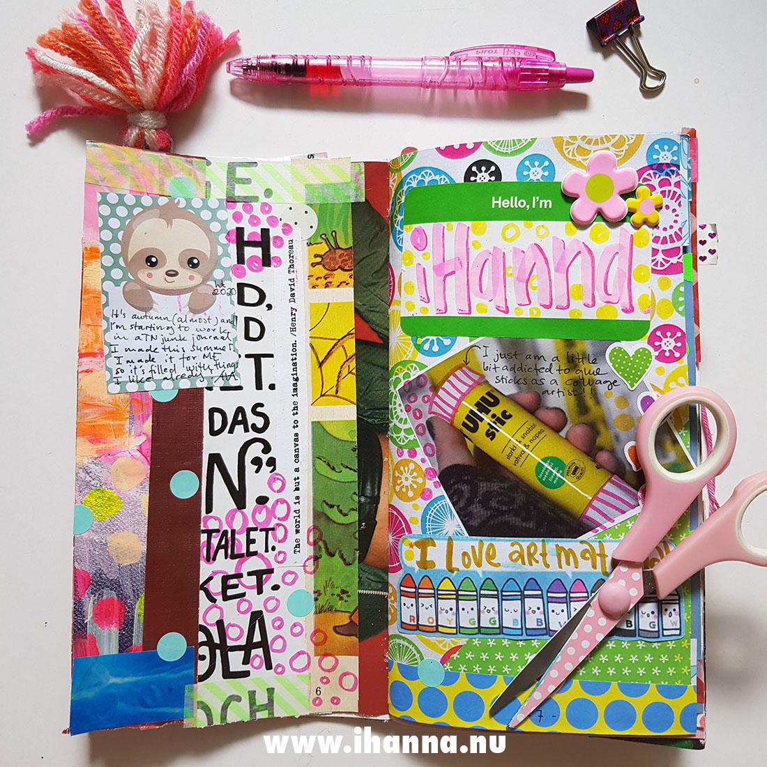 Hello I'm iHanna junk journal presentation by Hanna Andersson