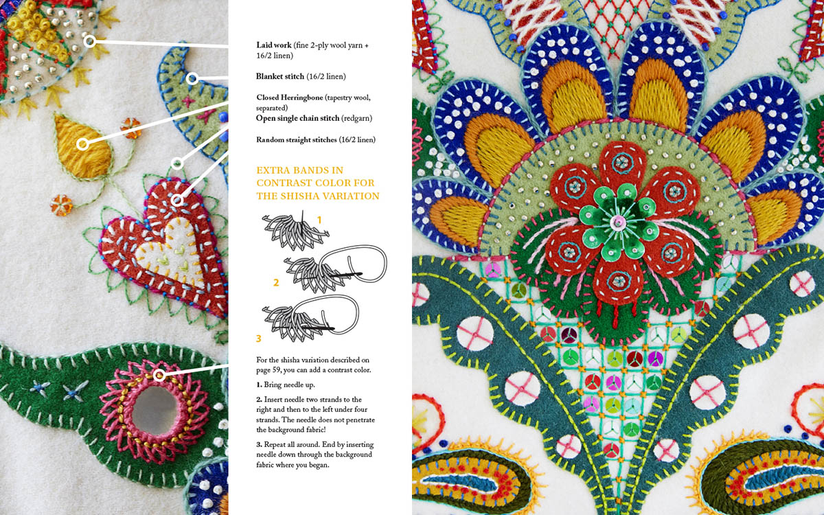 Image from Karin Derland's book Freestyle Embroidery on Wool - book review by iHanna #sweden