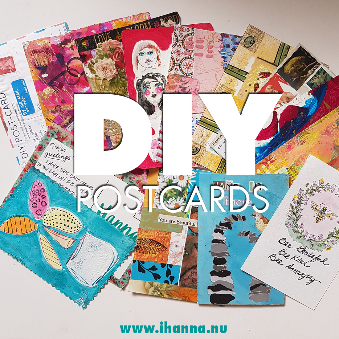 DIY Postcards sent to iHanna in the DIY Postcard Swap spring 2020 - 10th anniversary year of the swap #mailart