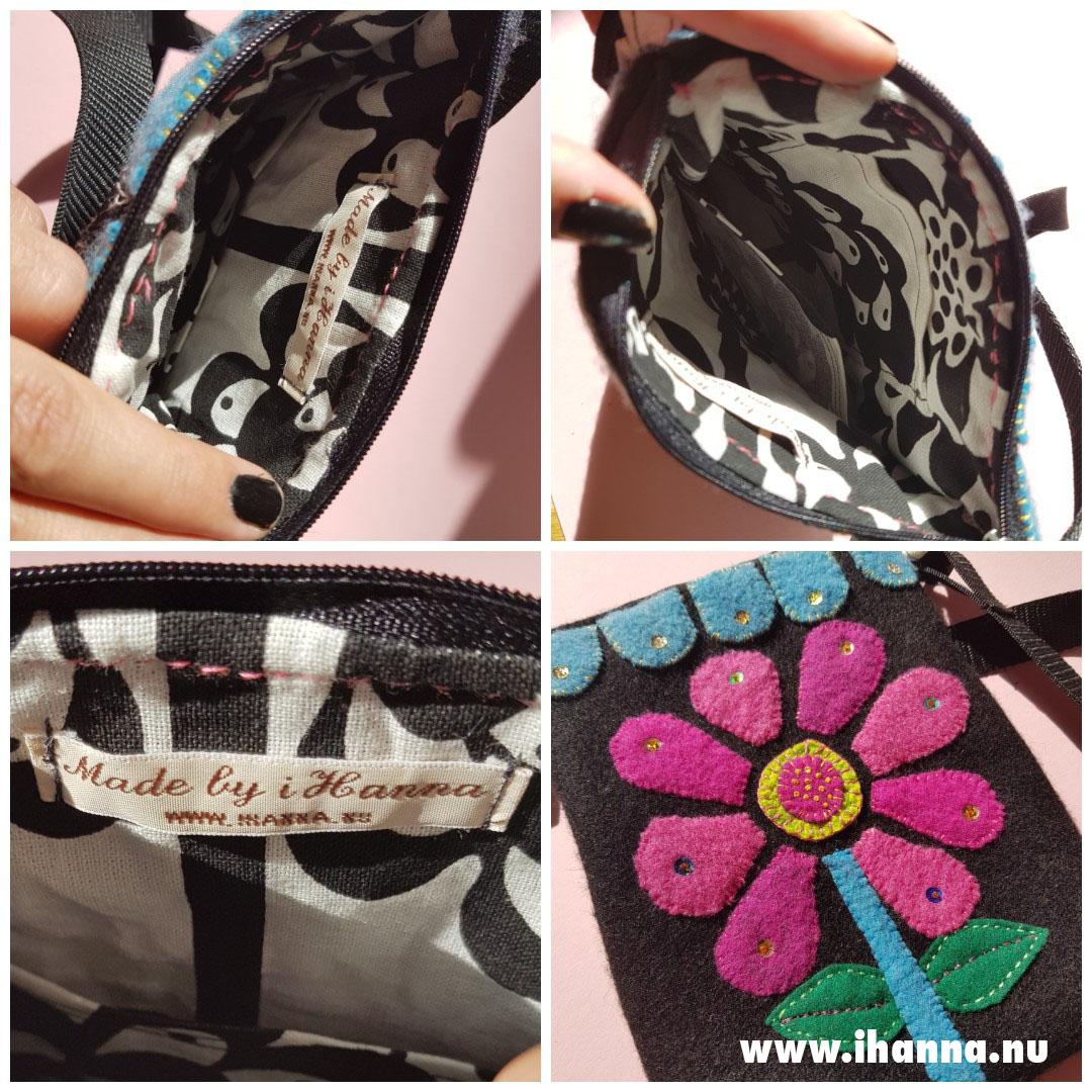 Inside of wool embroidered handbag by Hanna Andersson aka iHanna
