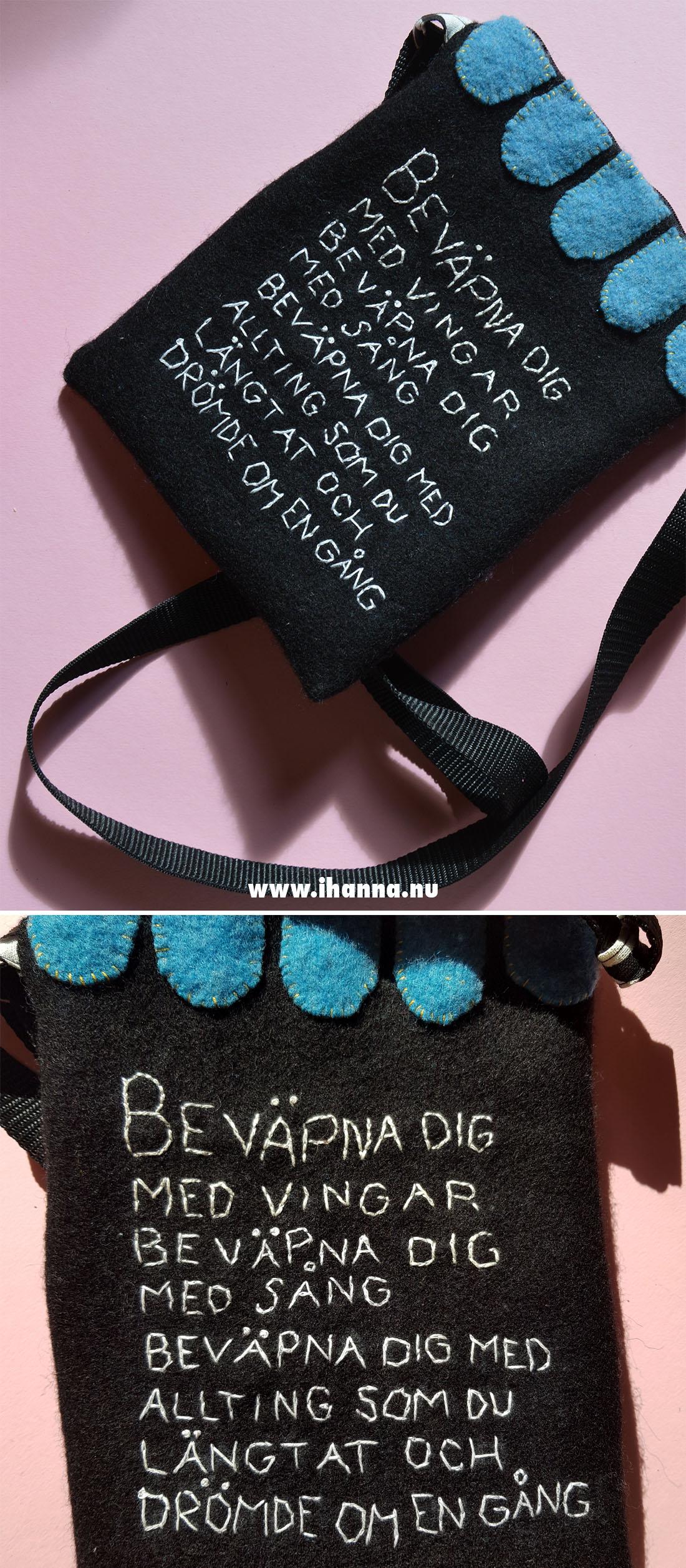 Backside of wool embroidered handbag by Hanna Andersson aka iHanna