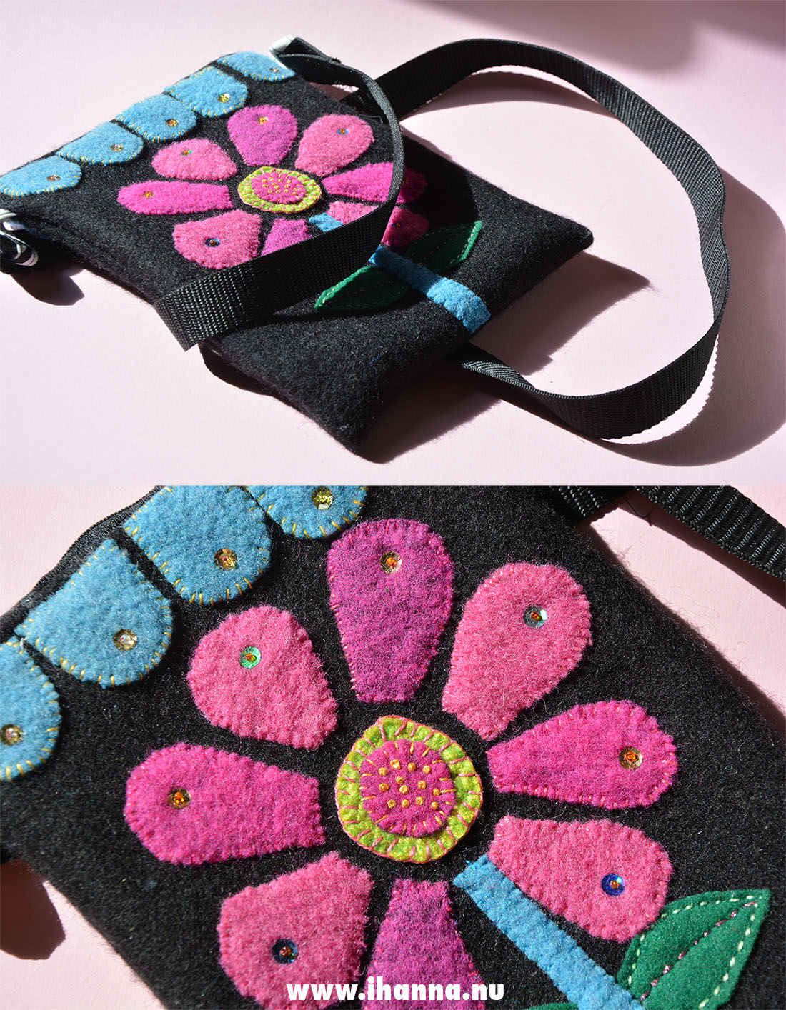 A hand-made wool embroidered handbag by Hanna Andersson aka iHanna