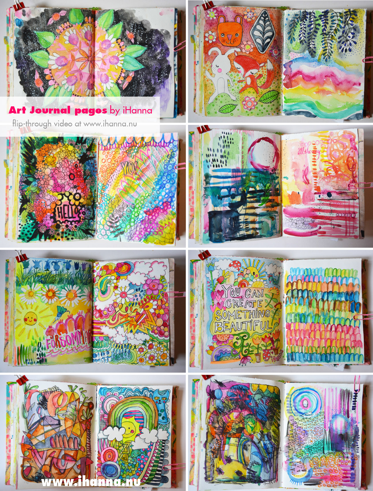Art journal pages in watercolor by iHanna - entire flip-through on the blog www.ihanna.nu